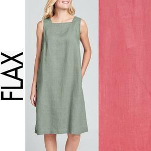 NWT!  Flax Square Neck Linen Shift Dress